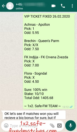 1 X 2 SOCCER FIXED MATCHES