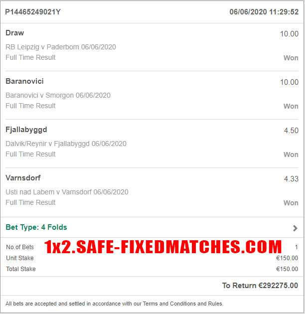 real fixed odds 100%